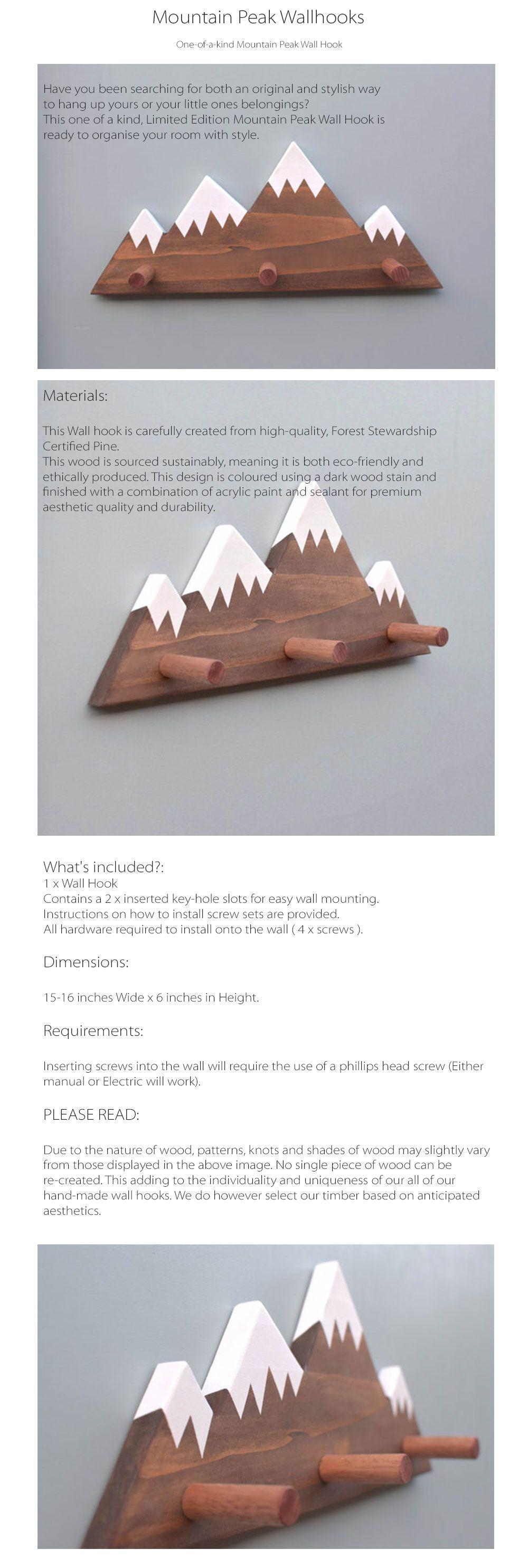 Mountain Peak Wallhooks Woodland Decor
