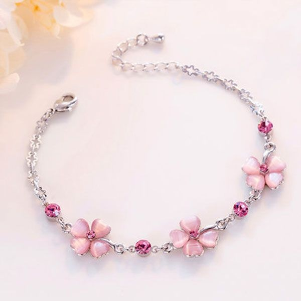 product thumbnail image for Pink Crystal Clover Bracelet