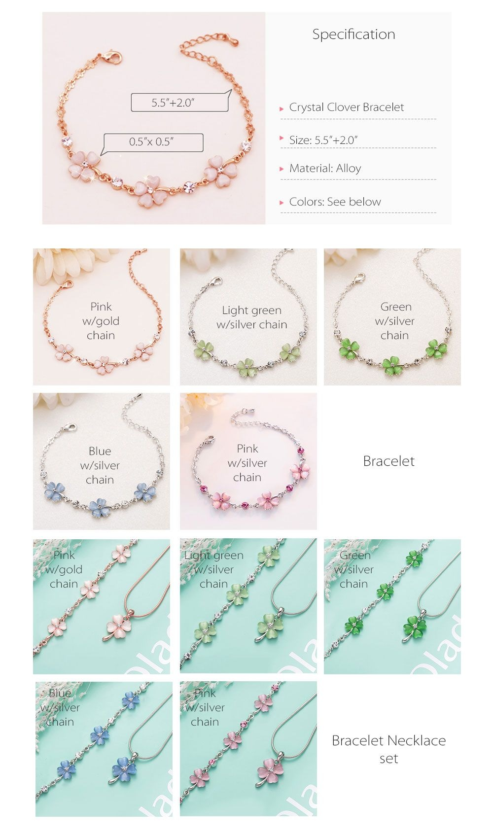 Pink Crystal Clover Bracelet Clover Jewelry
