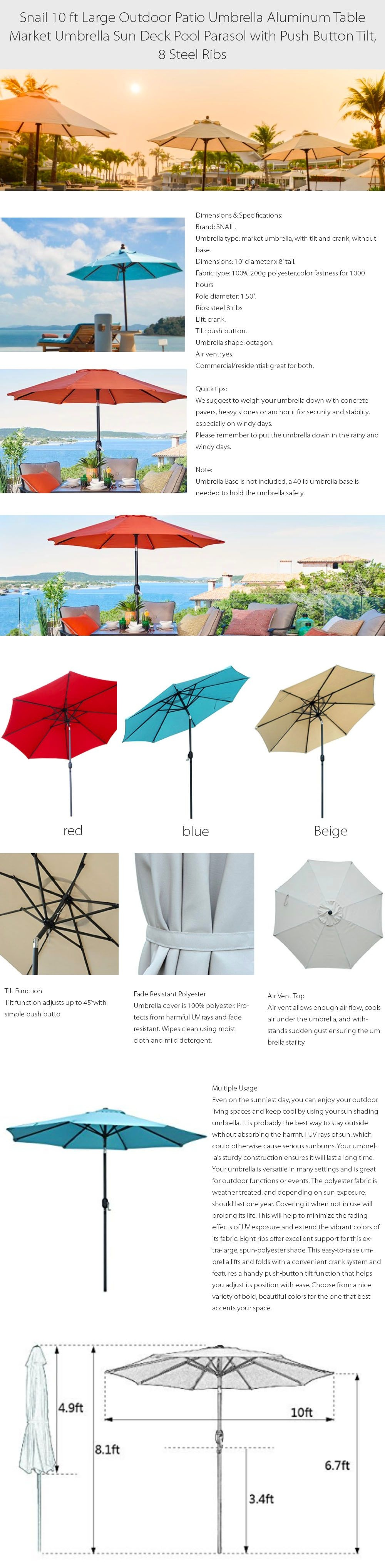 10 ft Large Outdoor Umbrella 8 Steel Ribs