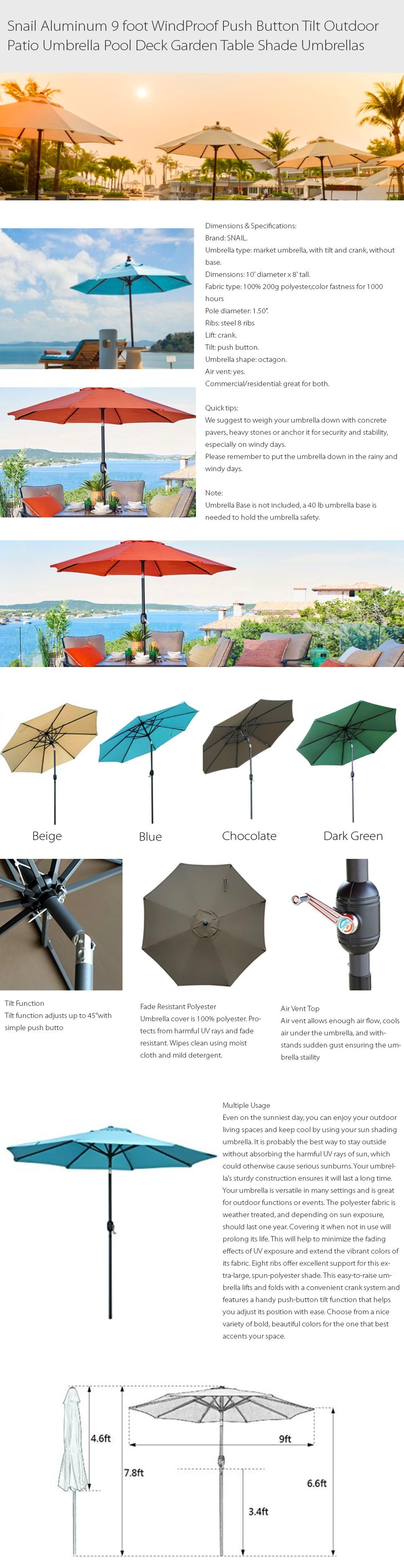 9 ft Patio Umbrella Windproof & Rust Resistant