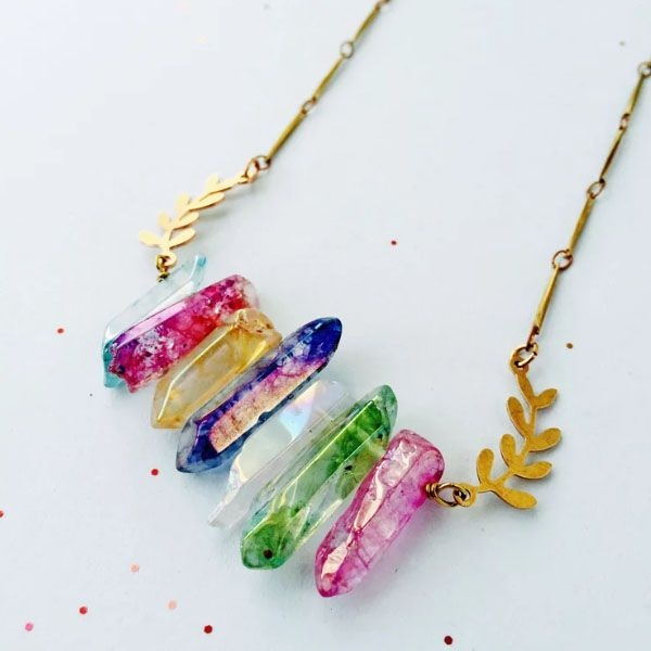 product thumbnail image for Titanium Quartz Laurel Leaf Necklace