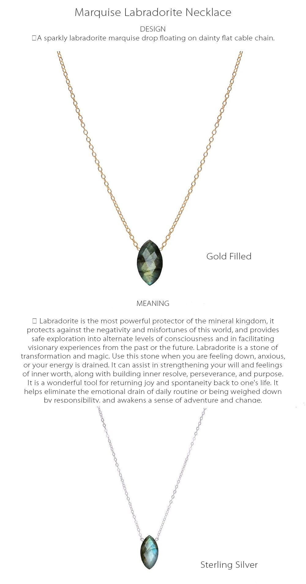 Marquise Labradorite Necklace Mineral Necklace