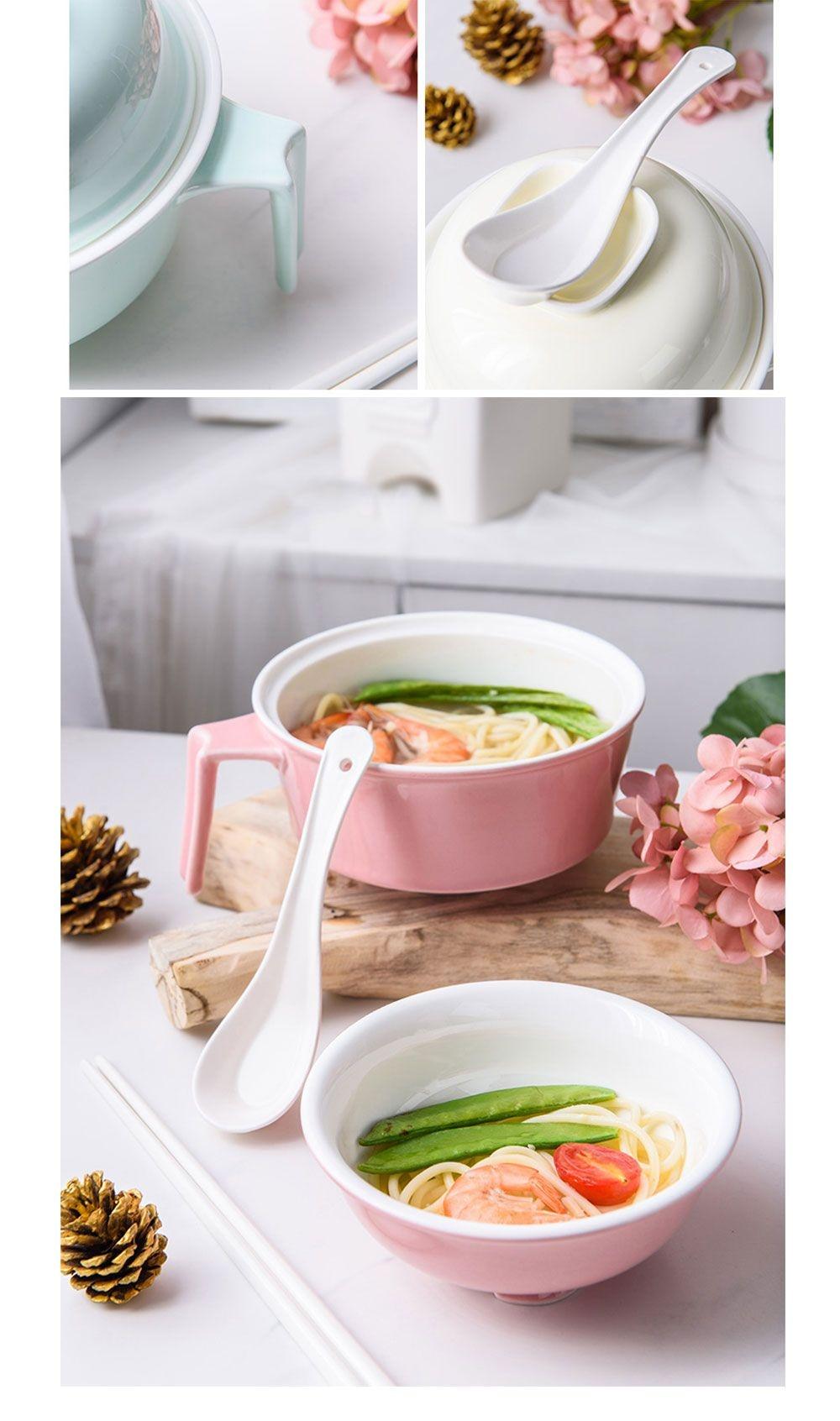 Dirt Resistant Ceramic Instant Noodles Bowl Dish Soap Free