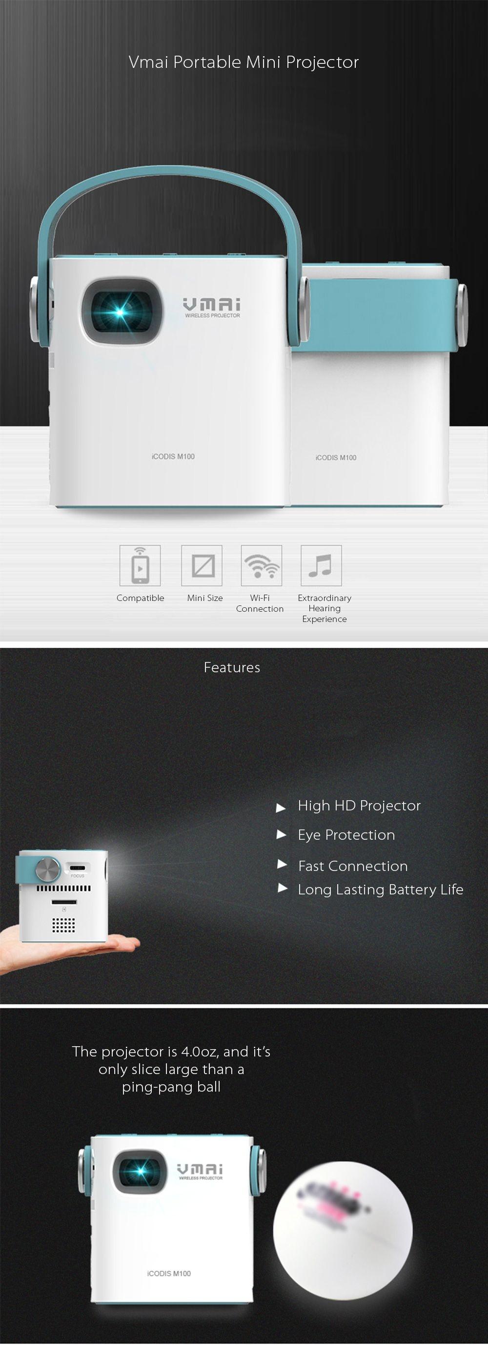 Vmai Protable Mini Projector Mini and Smart Design