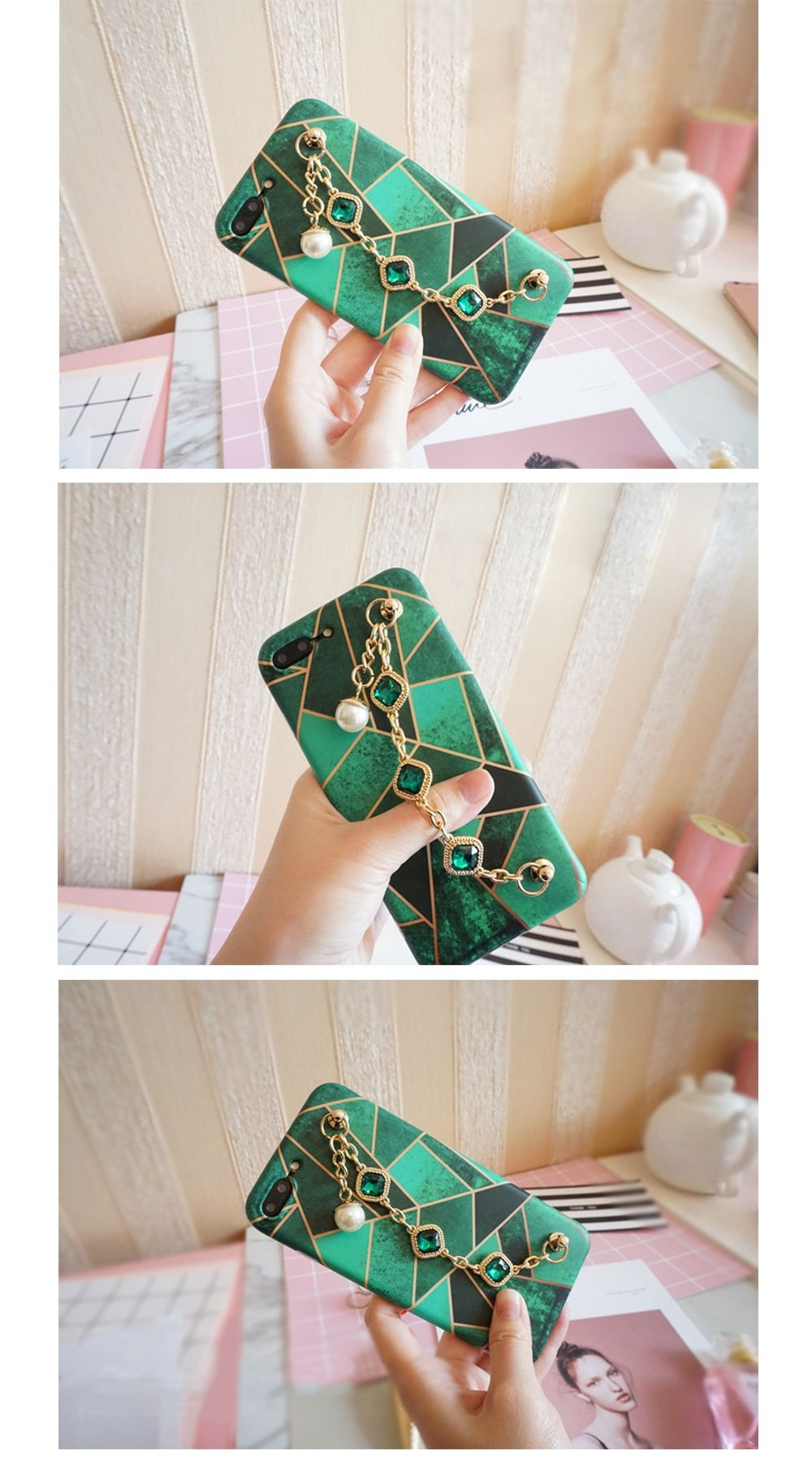Emerald Green iPhone Case with Tassel Chain Protection for iPhone