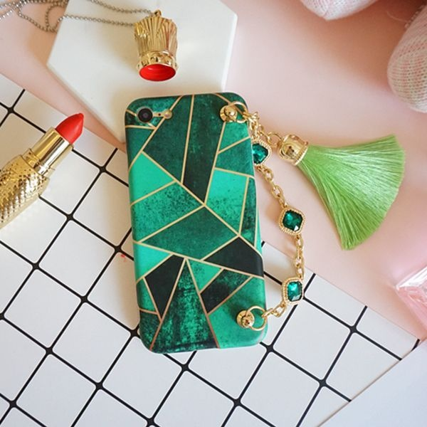 product image for Emerald Green iPhone Case w/ Tassel Chain