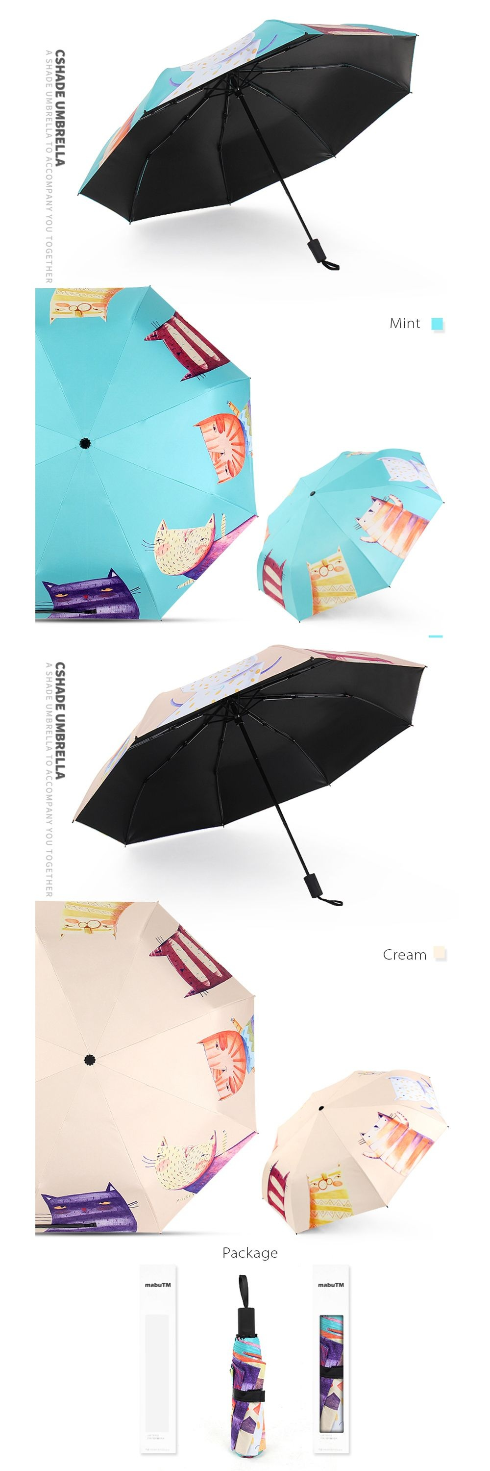 Hand Painted Cat Sunshade Umbrella Unique Umbrella