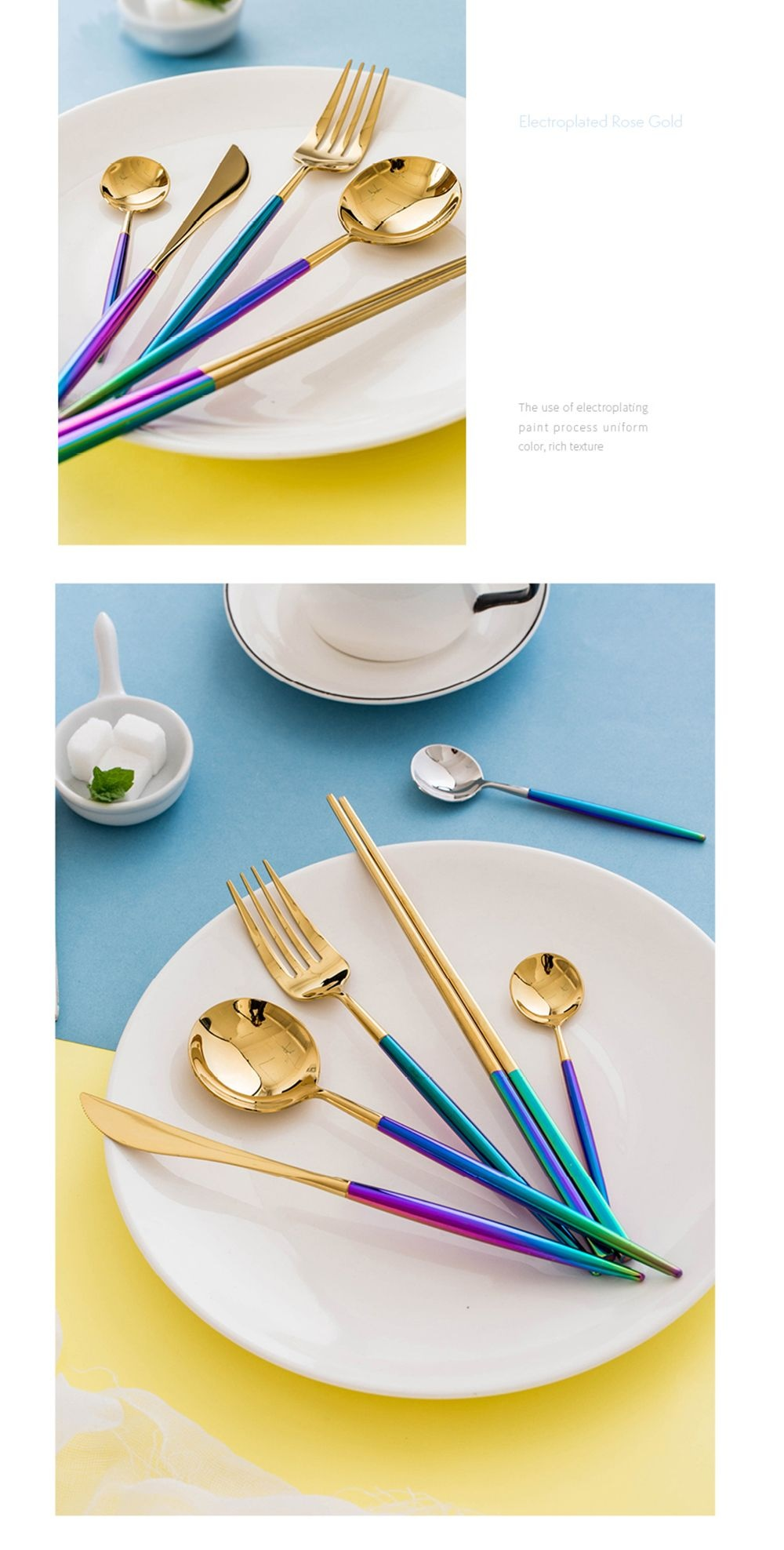 Sweet Home Rainbow Gold Silverware Set Style and Ease