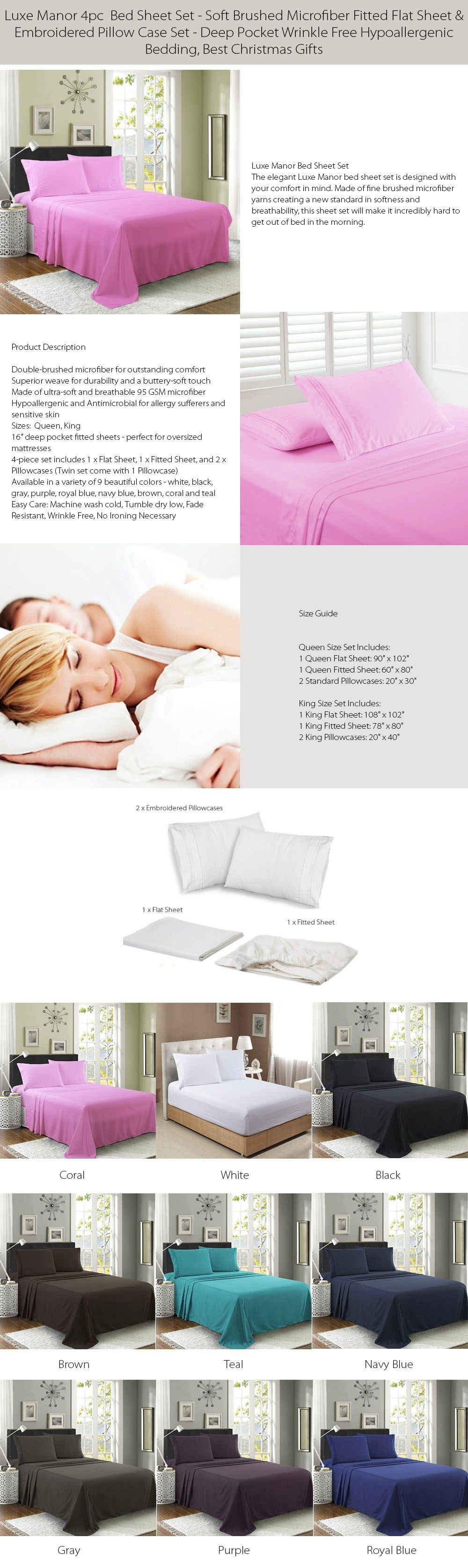 Luxe Manor 4pc Bed Sheet Set Soft Brushed Microfiber Fitted Flat Sheet & Embroidered Pillow Case Set