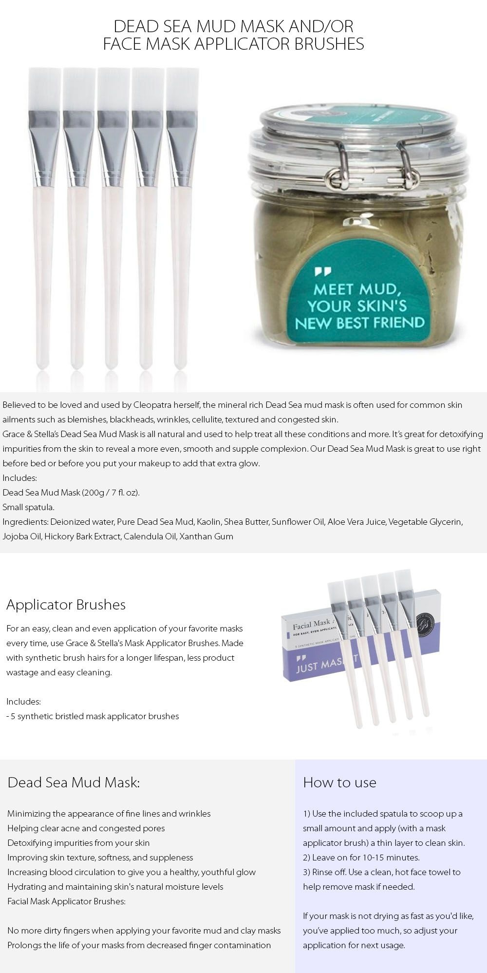 Dead Sea Mud Mask and/or Face Mask Applicator Brushes Mineral Rich Mask