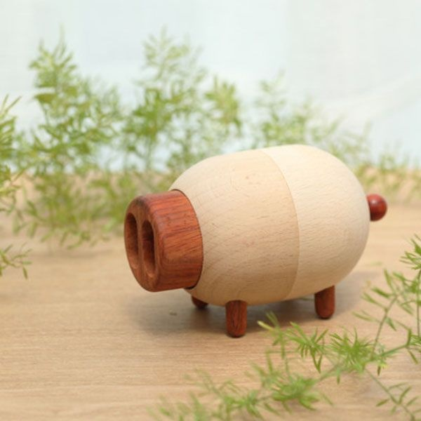 Wooden Pig Music Box