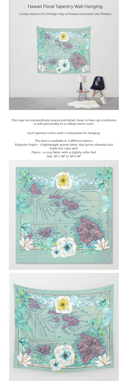 Hawaii Floral Tapestry Aqua and Pink