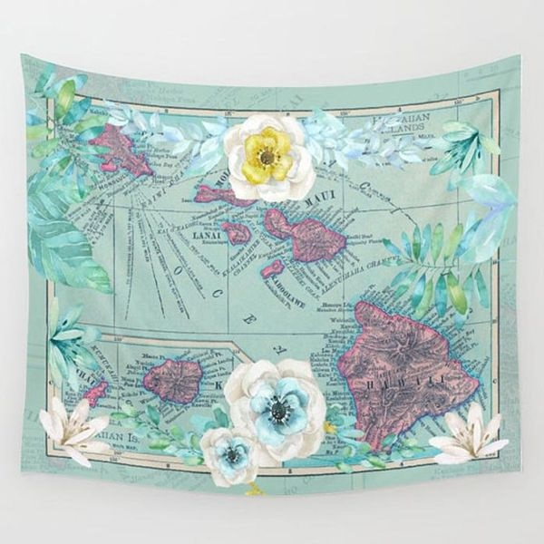 product image for Vintage Hawaiian Map Floral Tapestry