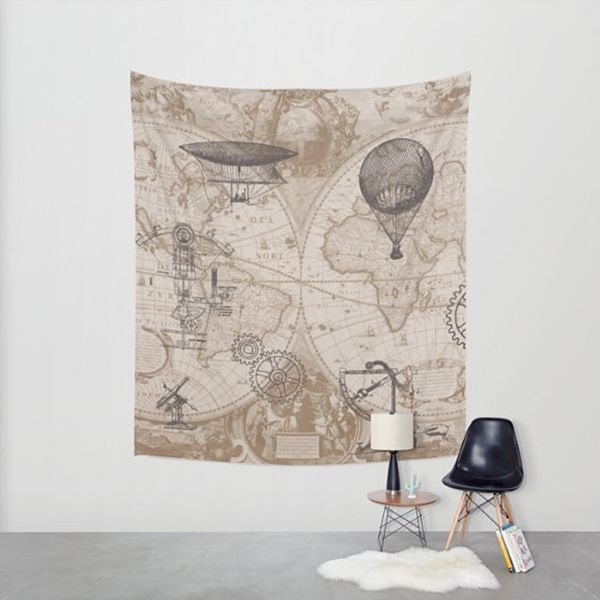 Steampunk Map Tapestry