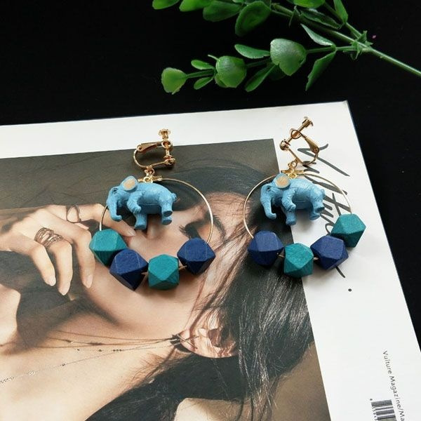 Blue Elephant Hoop Earrings