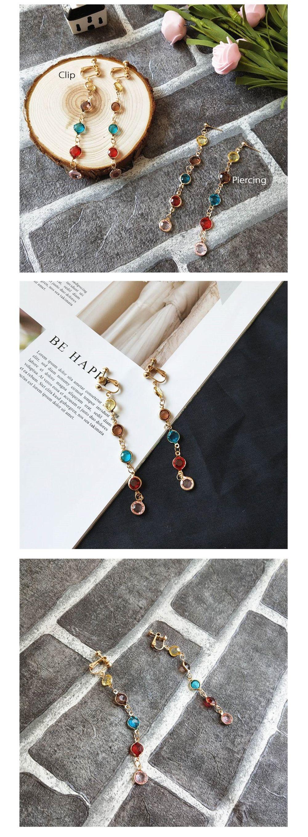 Rainbow Crystal Earrings Japanese Style