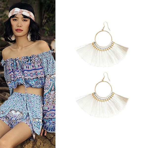 White Fringe Hoop Earrings