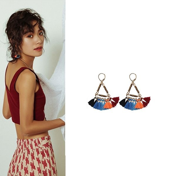 Colorful Triangle Tassel Earrings