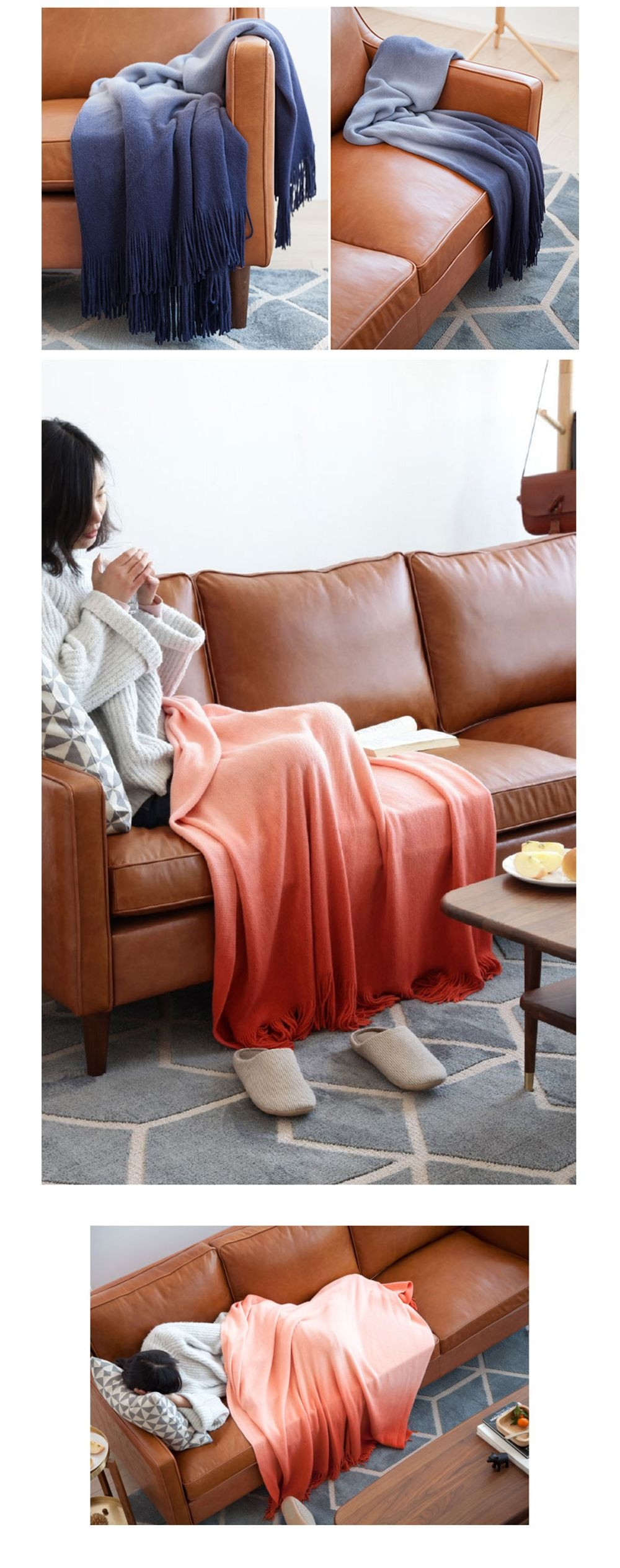 Gradient Tassel Throw Blanket Cuddle Up