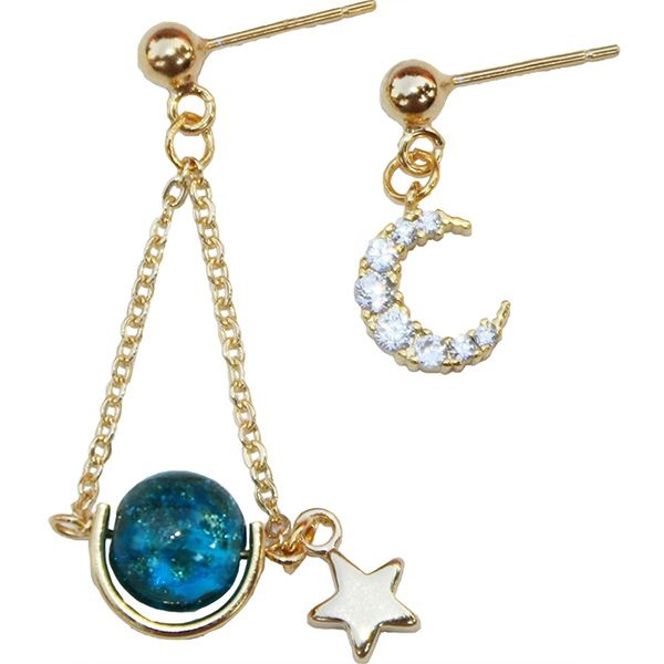 Crescent Moon Sparkling Planet Earrings
