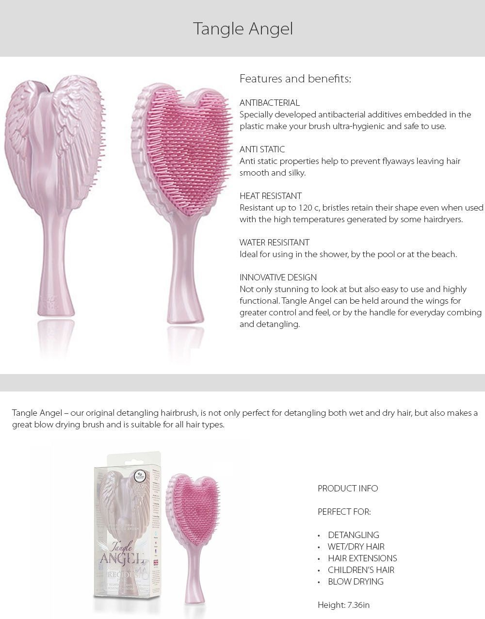 Angel Tangle Hairbrush (Pink) Detangle Your Hair