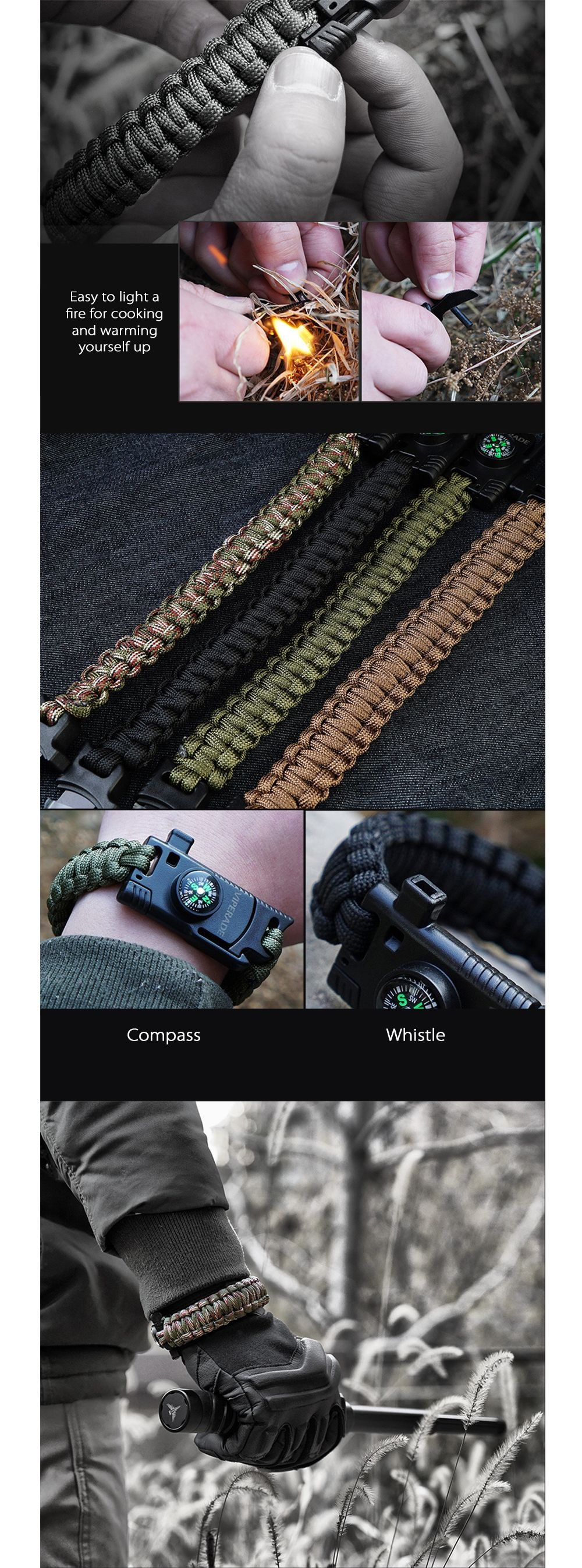 Viperade Multifunctional Outdoor Emergency Survival Bracelet 5-in1 Hankwork Paracord Bracelet