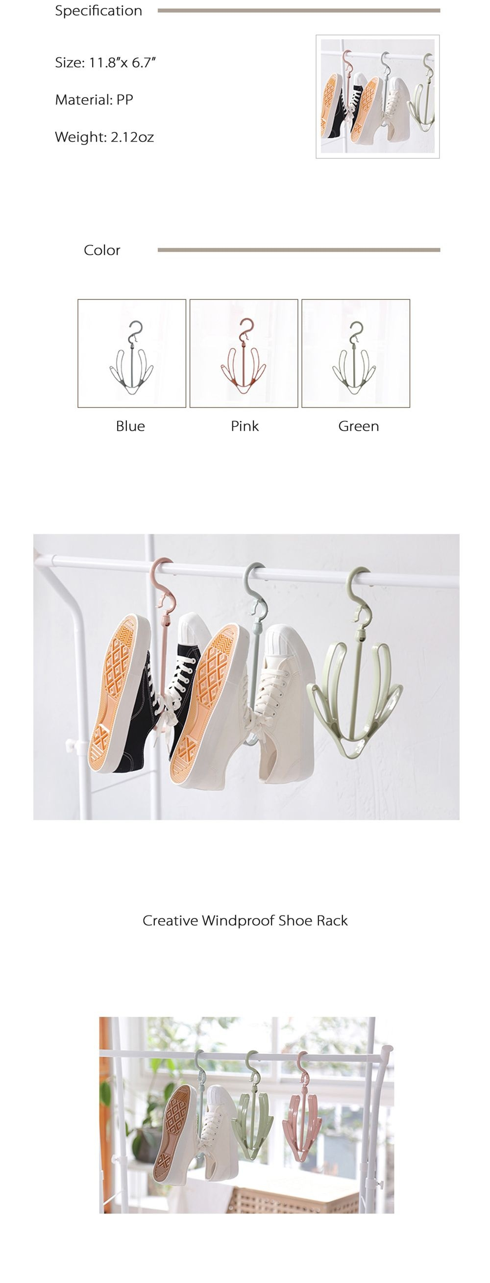 Wind Proof Shoe Hanger Portable Storage
