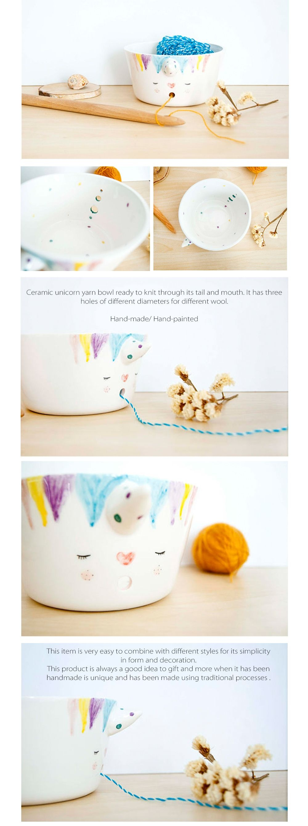 Unicorn Knitting Bowl Hand Painted Yarn Bowl