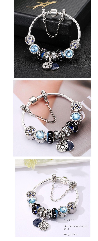 Blue Star Beaded Bracelet Handmade Charm