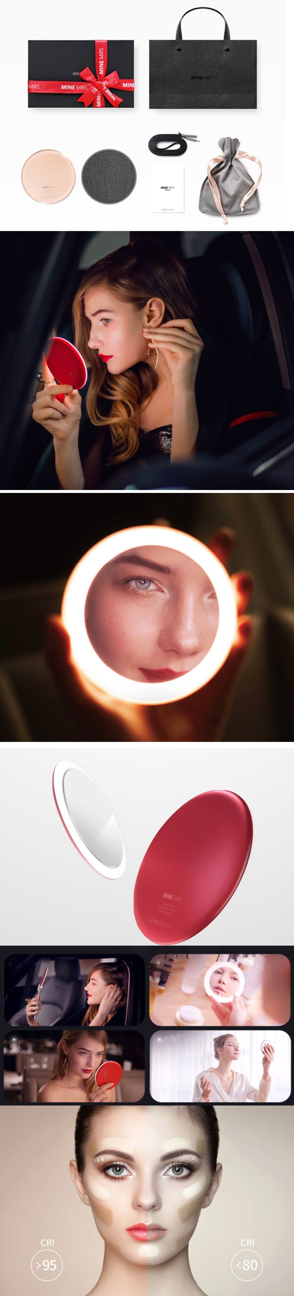 Pocket Mirror with LED Light By Mine Mirs
