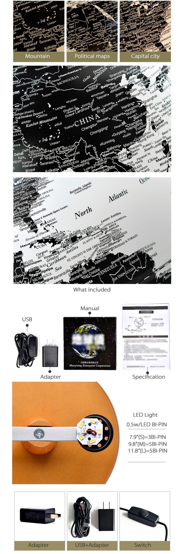 Illuminated Constellation World Globe 3-in-1 Globe, Constellation Map & Nightlight