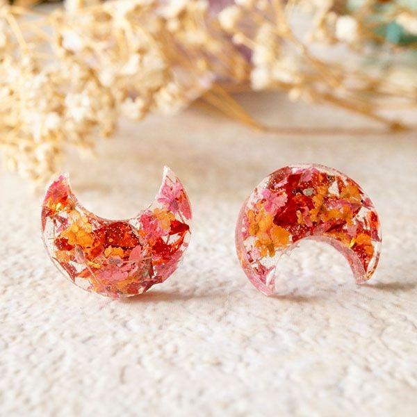 Resin Moon Stud Earrings