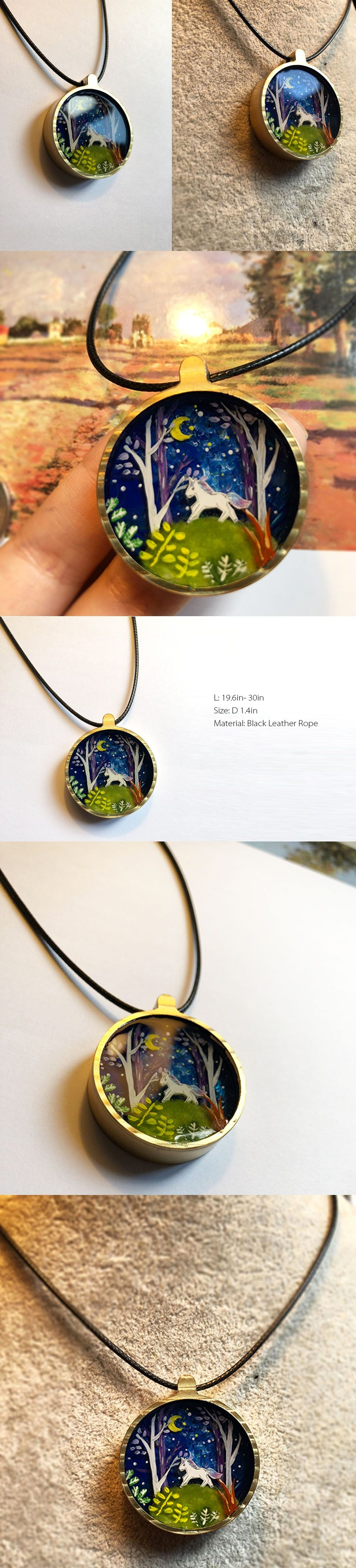 Unicorn Necklace Hand Painted Charm