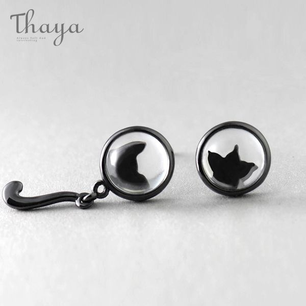 Black Cat & Paw Silhouette Earrings