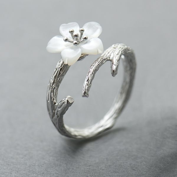 product image for White Cherry Blossom Silver Ring