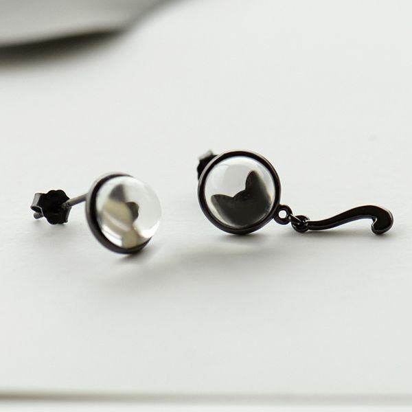 Silhouette Earrings: Black Cat & Paw Silhouette Earrings