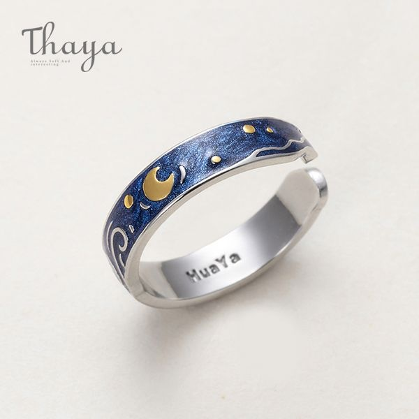 product image for Thaya Van Gogh's Sky Design Handmade Drawing Ring