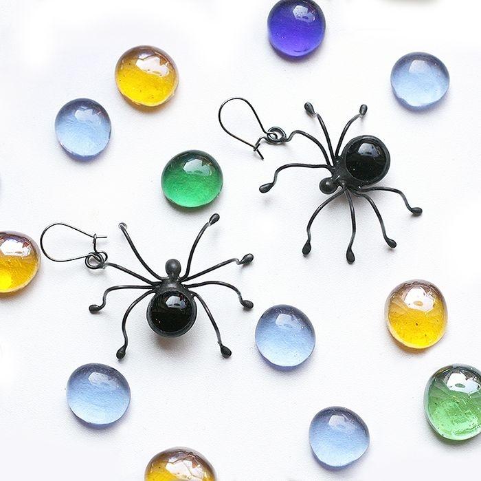 Black spider Earrings Halloween Jewelry