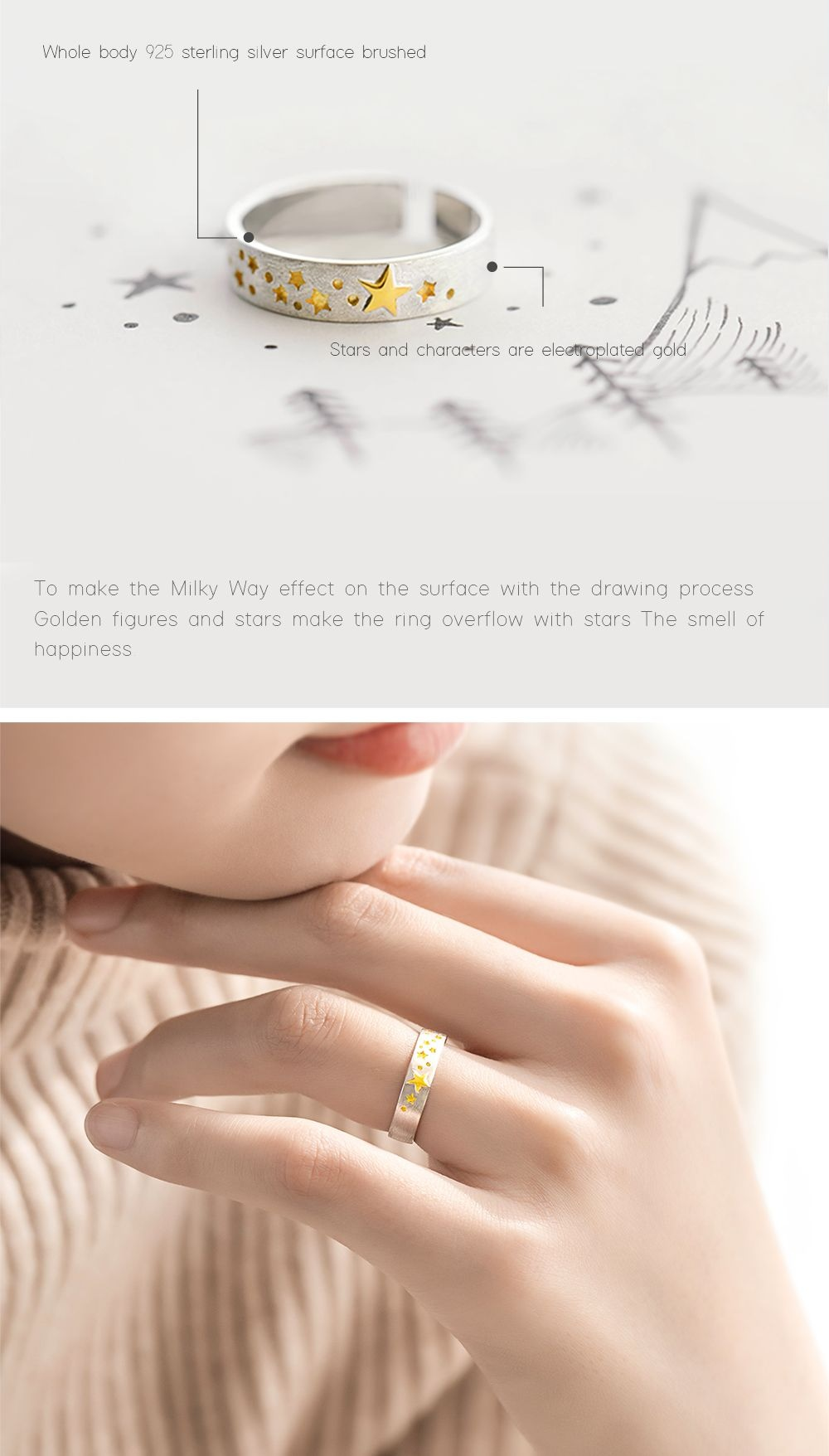 3D Concave Gold Star Rings Chasing Stars
