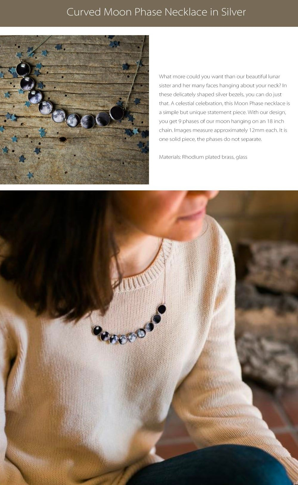Curved Moon Phase Necklace Lunar Love