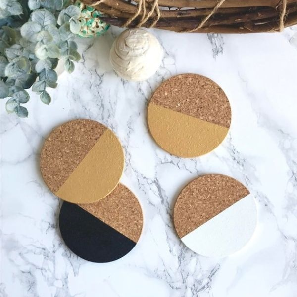 White, Gold and Black Cork Coasters