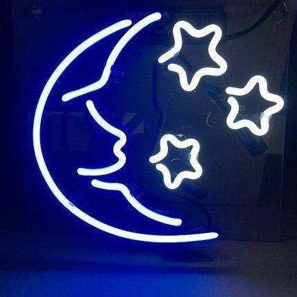 Moon and Stars Neon Wall Art
