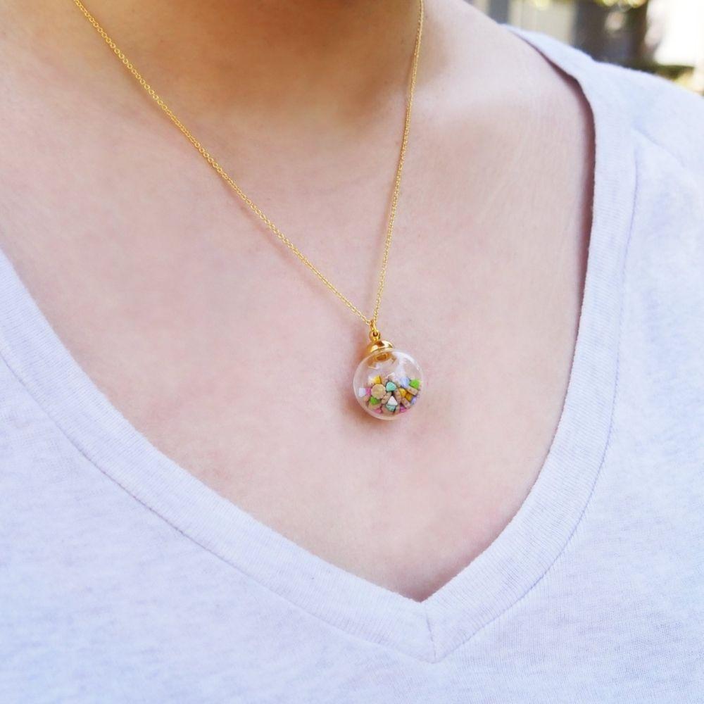 Tiny Ice Gems In Mini Glass Jar Necklace Handmade With Love