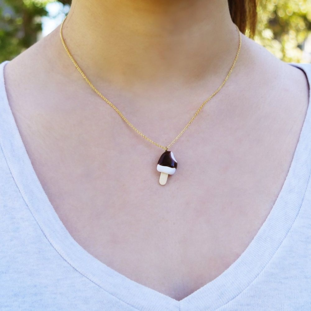 Cute Chocolate Ice Cream Bar Necklace Handmade With Love