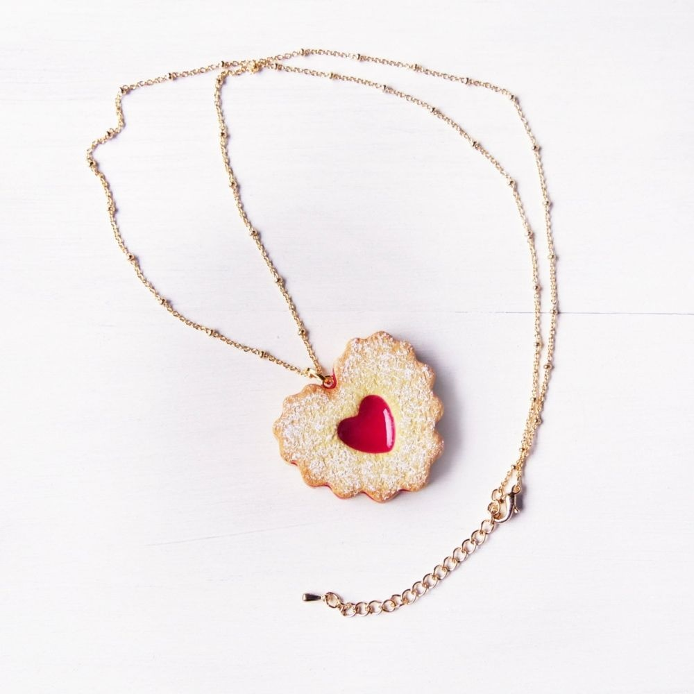 Double Heart Jam Cookie Necklace Handmade With Love