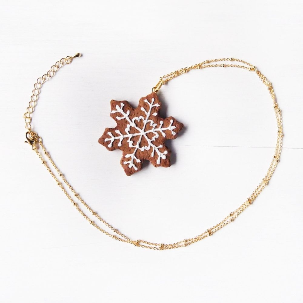 Snowflake Cookie Necklace Handmade With Love