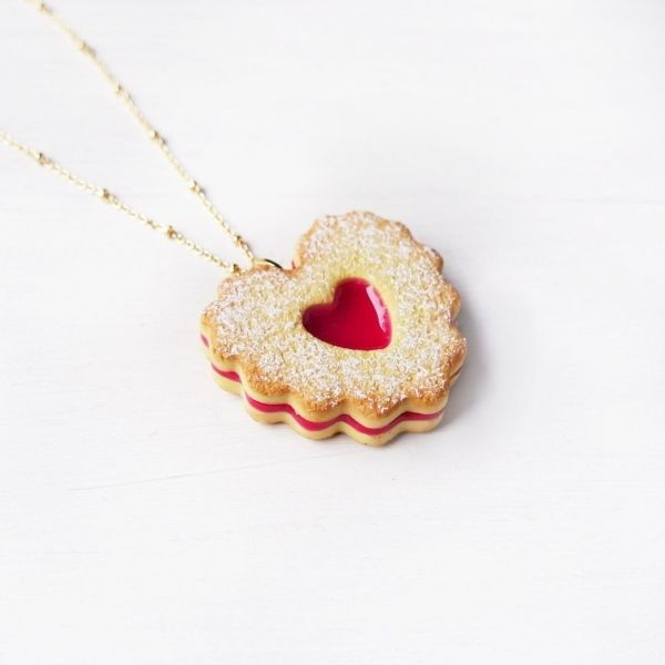 Double Heart Jam Cookie Necklace