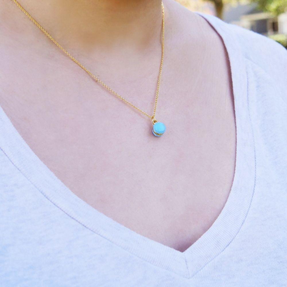 Mini Blue Macaron Necklace Handmade With Love