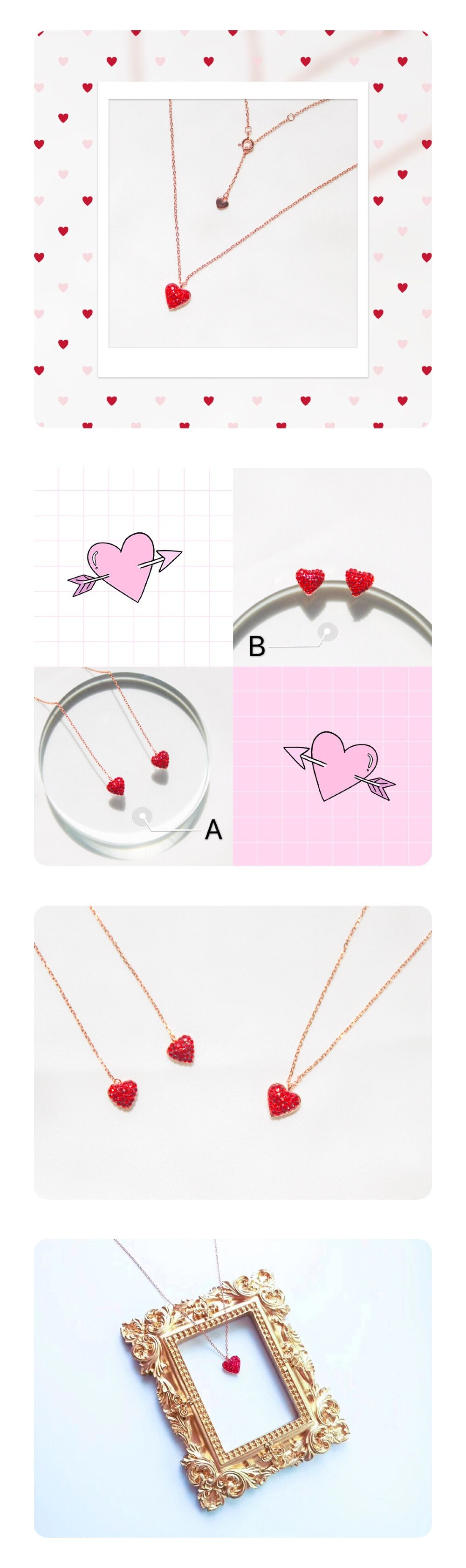 Love Heart Sliver Jewelry Earrings and Necklace